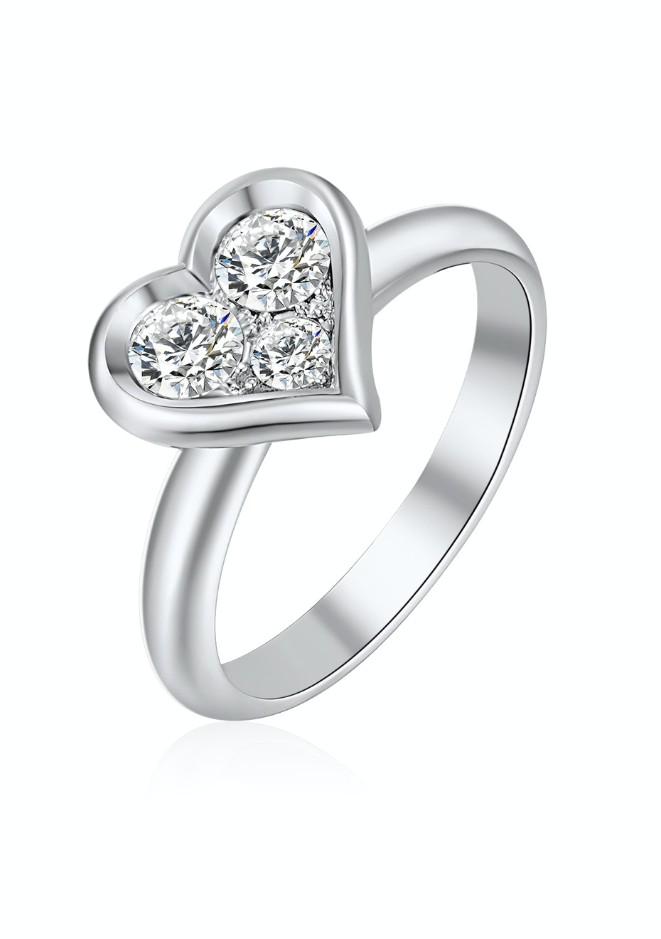Heart Tri-stone ring Embellished with Crystals from Swarovski