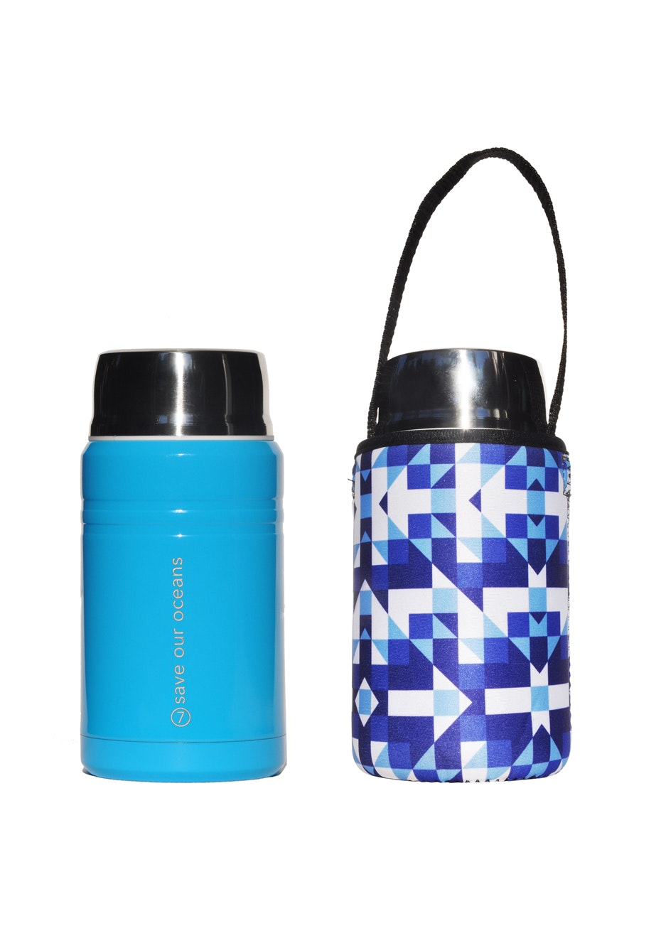 BBBYO - Foodie Insulated lunch container + carry cover 750 ml (Tarx print)- Bright blue