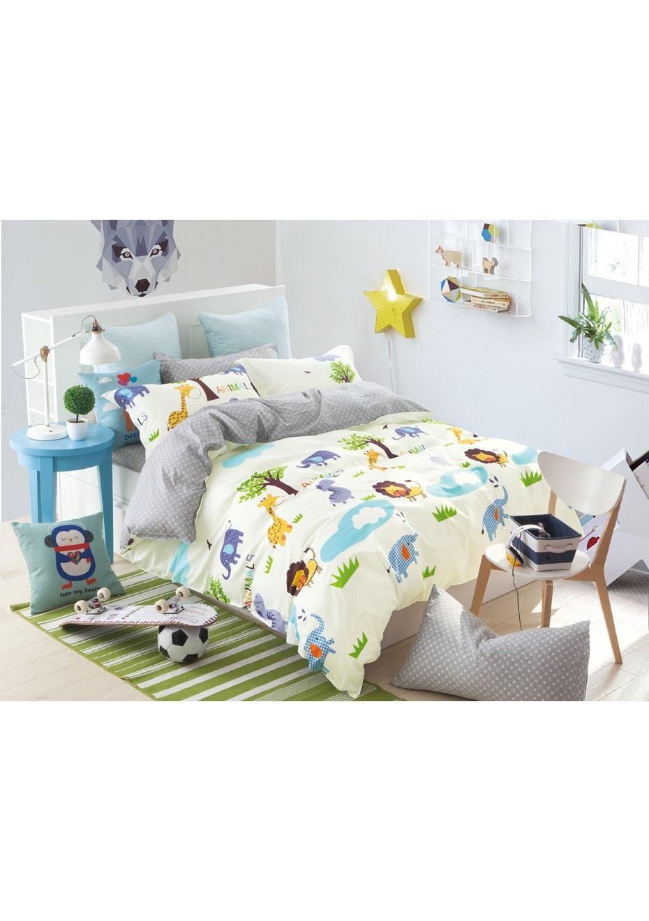 Safari Quilt Cover Set - Reversible Design - 100% Cotton - Single Bed