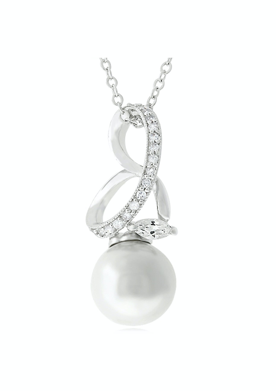 Pendant w Faux Pearl CZ in White Gold