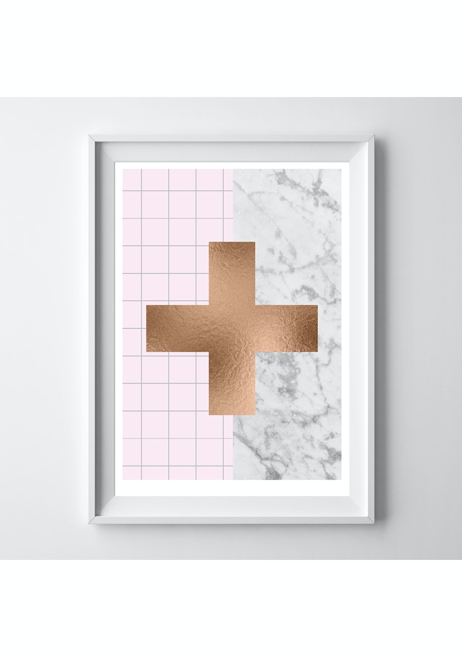 Simply Creative - Limited Edition Blush Cross - A3 Copper Foil Print