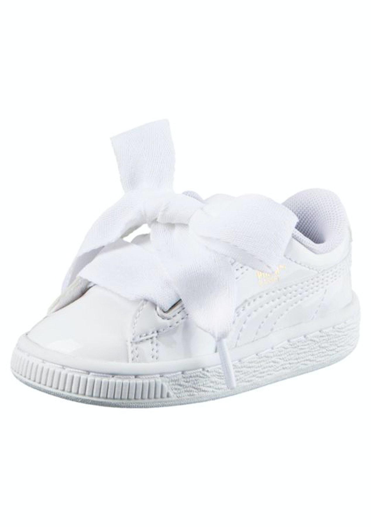 5a27644f3fc1 Puma Kids - Basket Heart Patent - White - PUMA Womens   Kids - Onceit