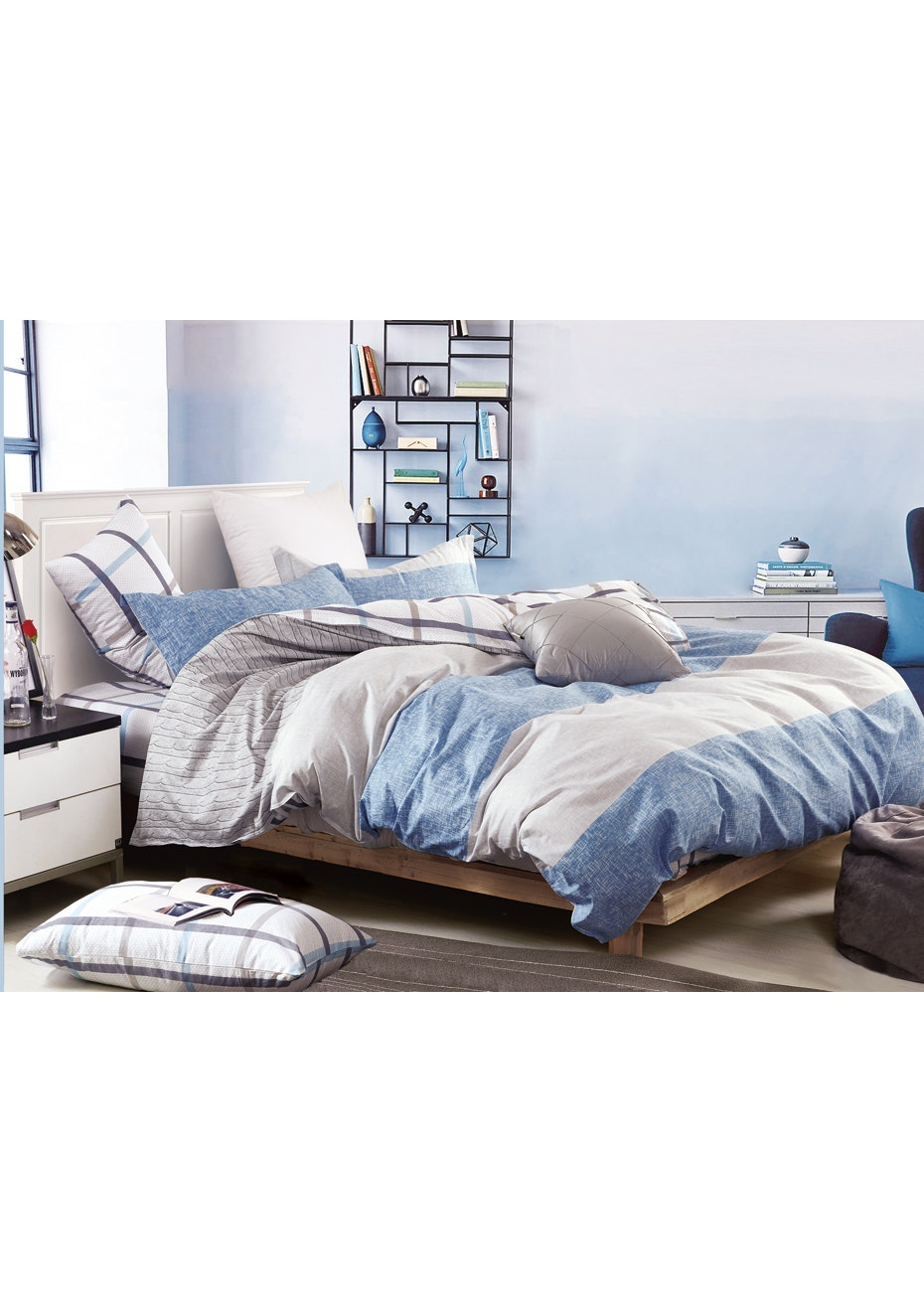 Cable Beach Quilt Cover Set - Reversible Design - 100% Cotton - Single Bed