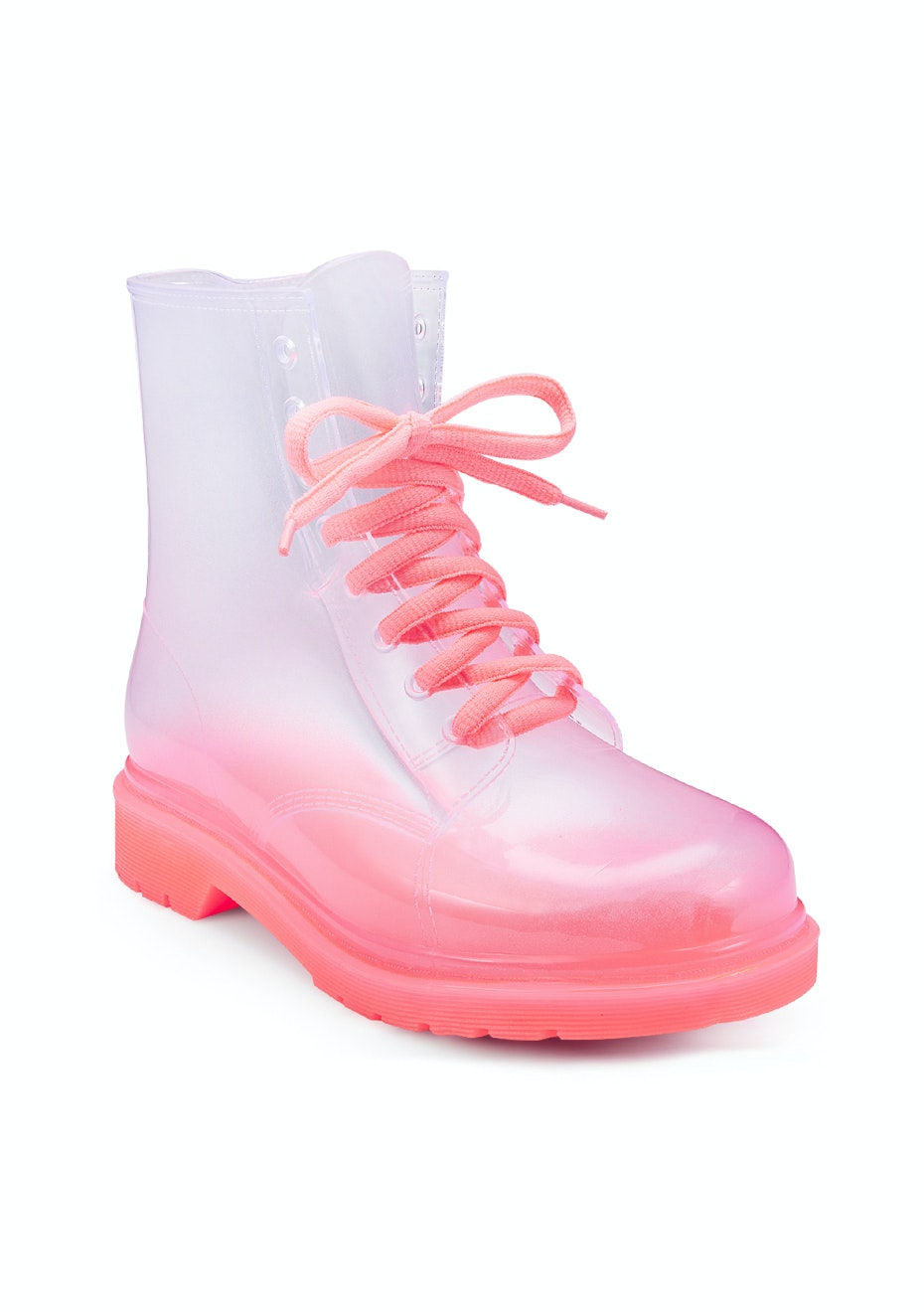 Pink/Clear Combat Boot - Pink/Clear
