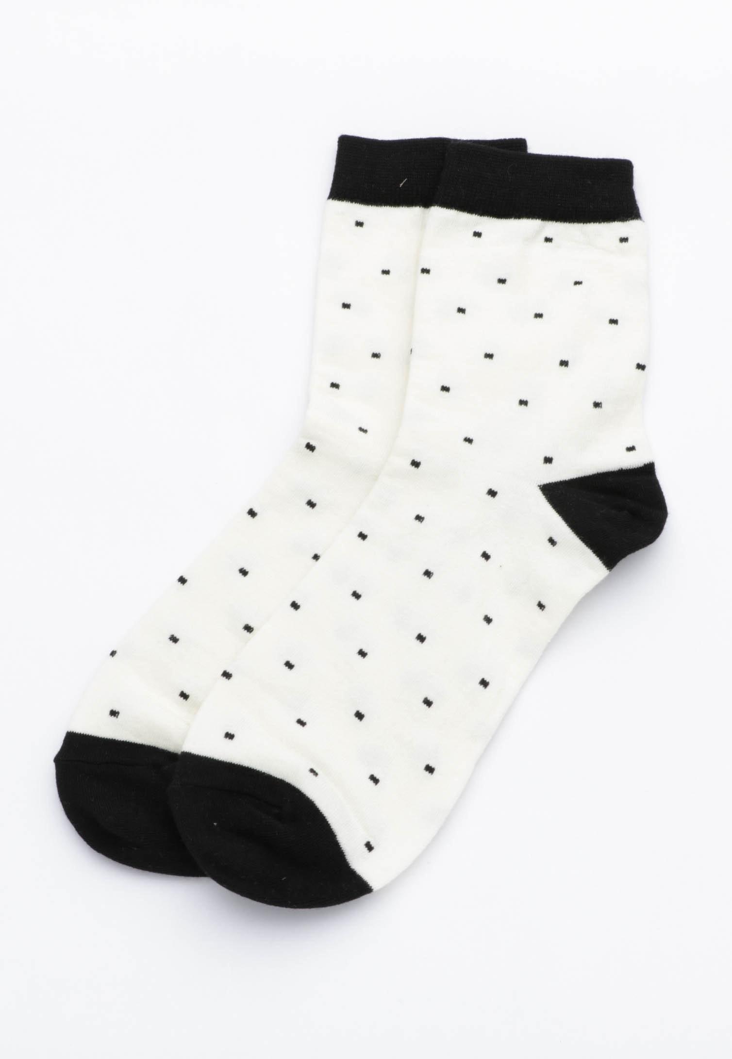 Mini Dot Socks - Cream/ Black