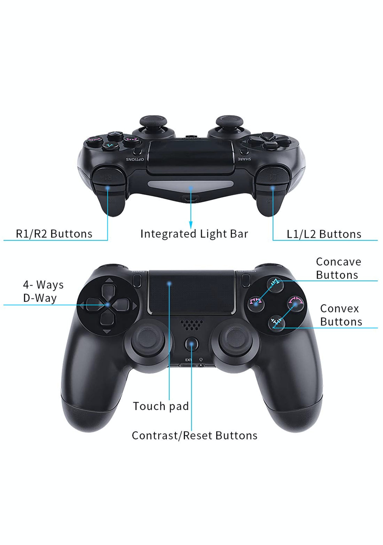 Wireless Bluetooth Game Controller Gamepad for PS4 PC
