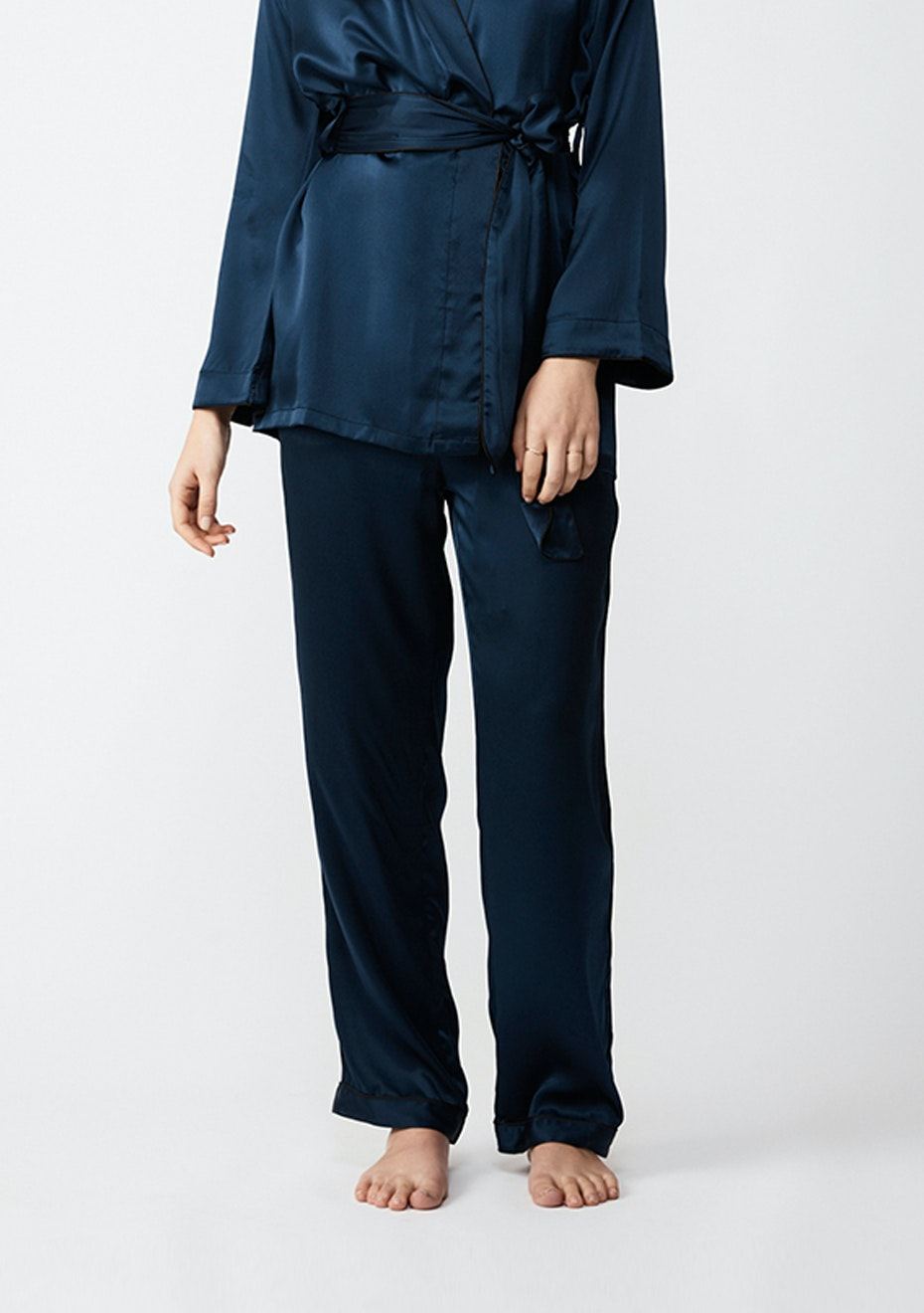 NATALIJA - Silk Pj Pants - Navy