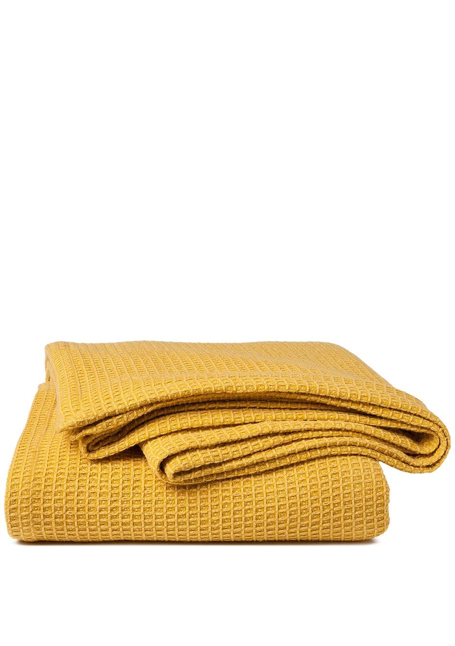 Sogno Linen Blend  Blanket Mustard