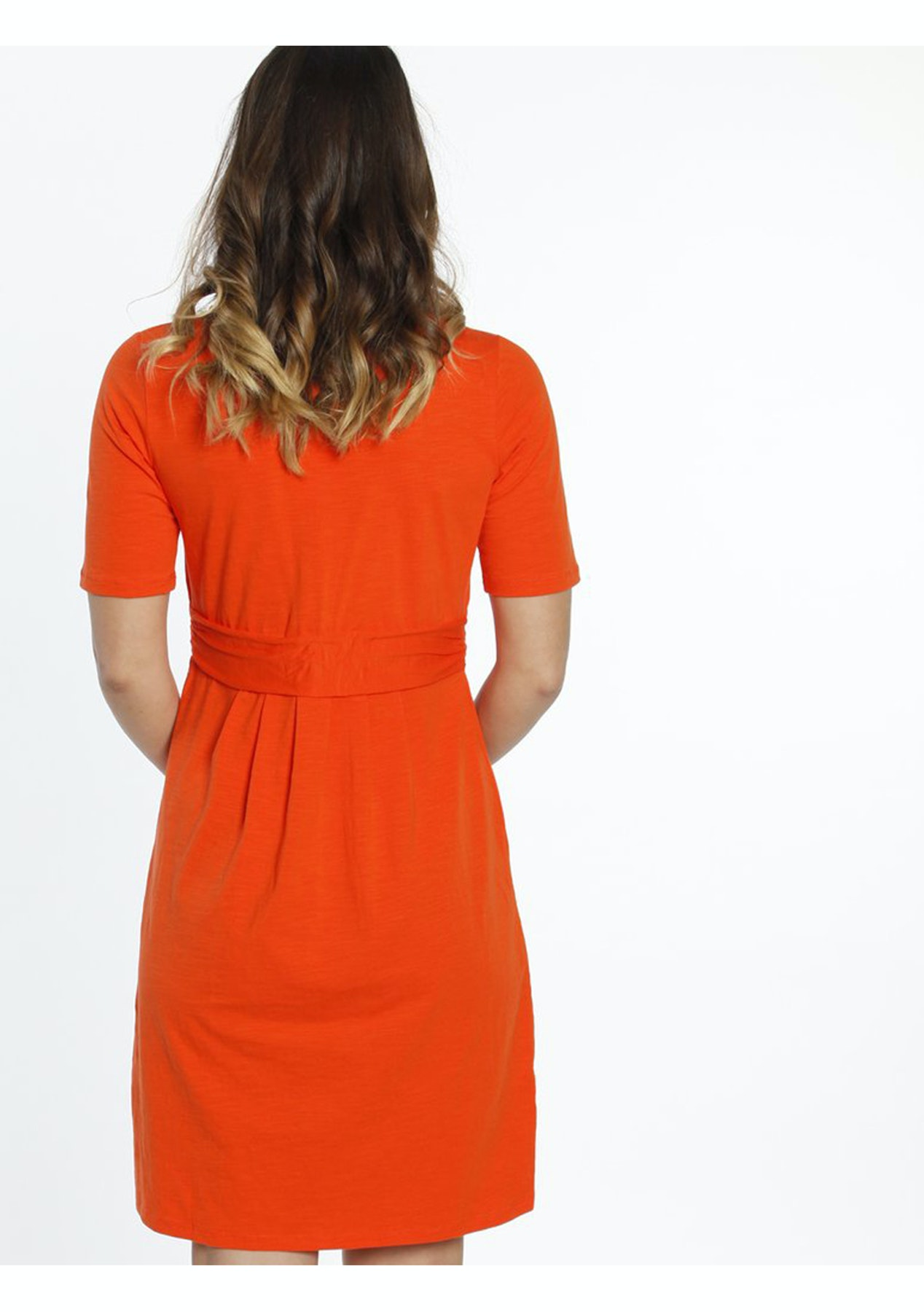d92755c52ca Angel Maternity - Busy Mummy Nursing Empire Waist Dress in Tangerine - Love  Your Bump - On Trend Maternity Wear - Onceit
