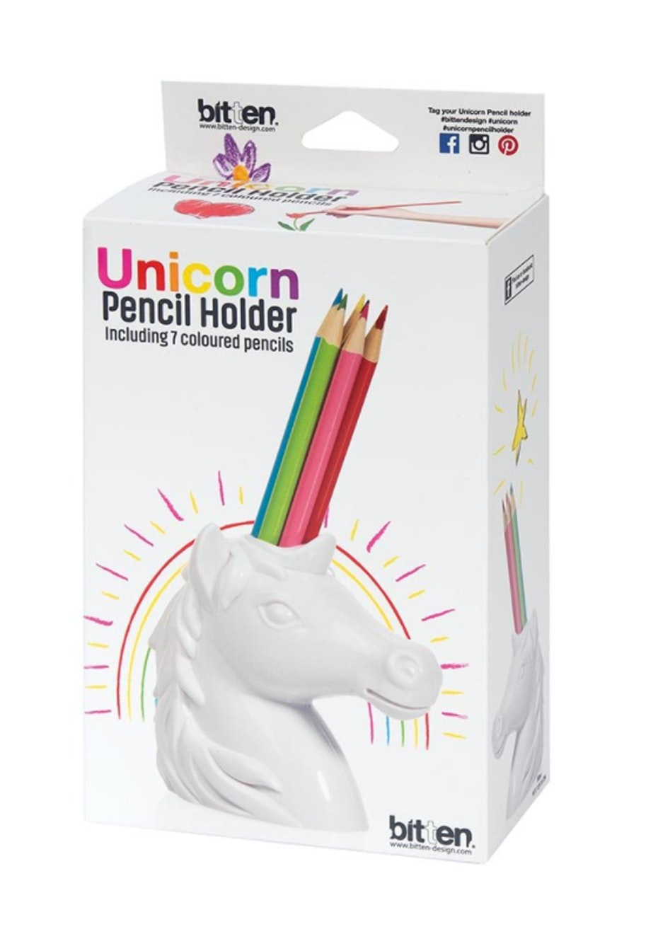 Unicorn Pencil Holder w/Pencils