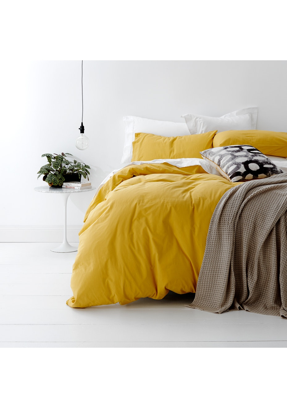 Park Avenue European Vintage Washed 100 % Cotton Quilt Cover Set Super King- Misted Yellow