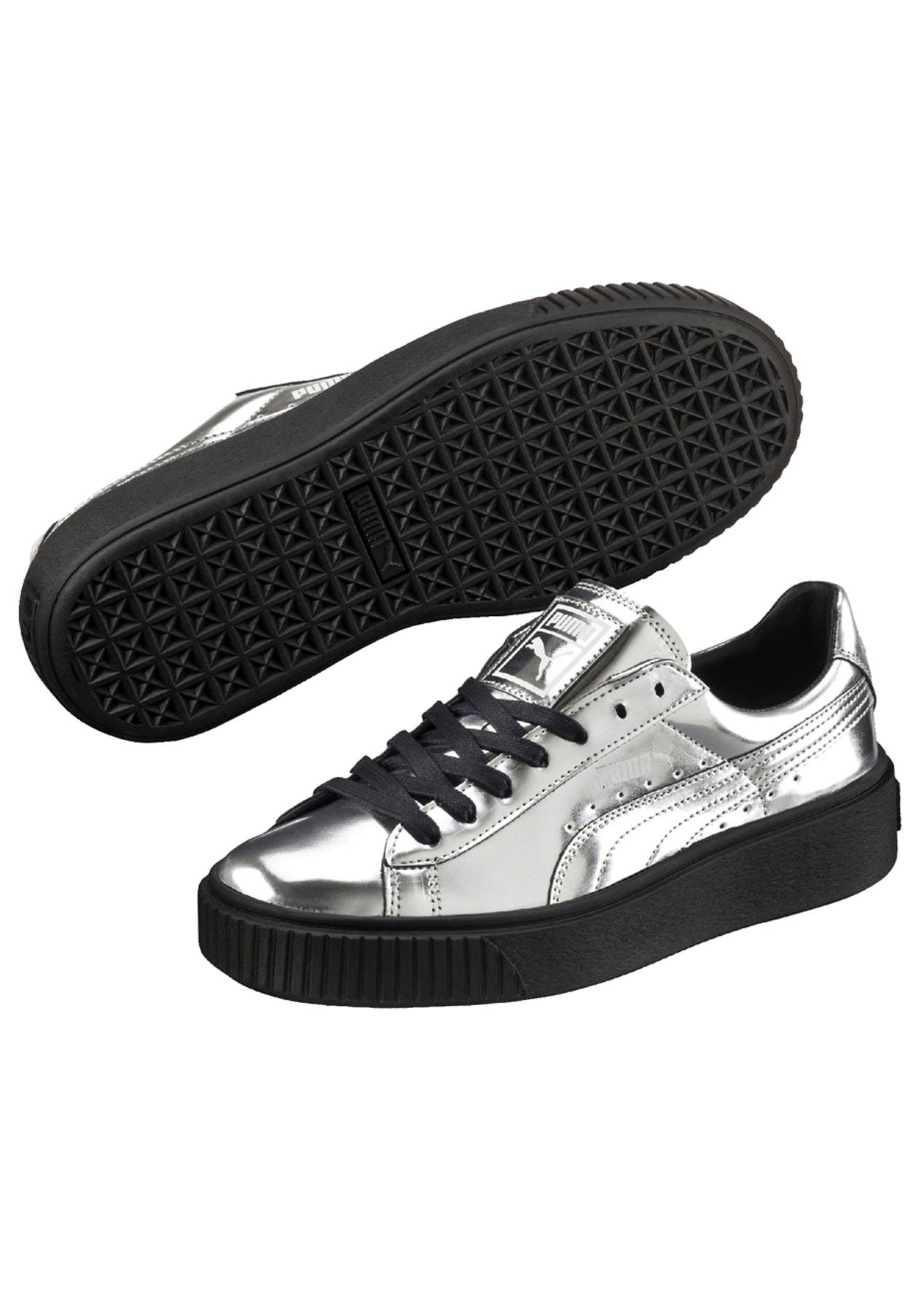 Puma - Basket Creeper Metallic Silver - Womens Activewear Outlet - Onceit 047273f31d