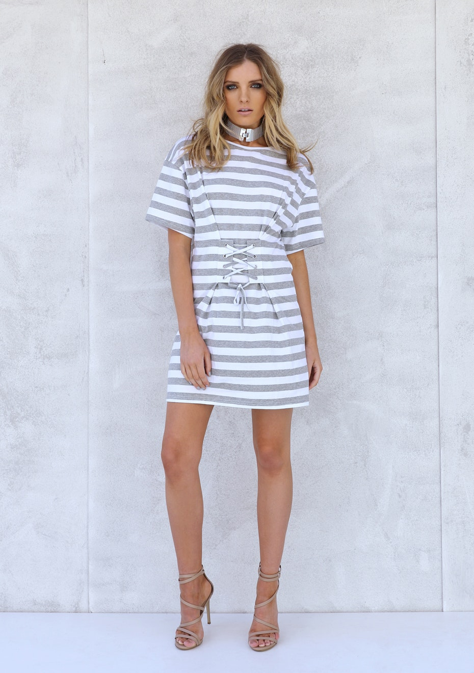 Madison - IVY TIE DRESS - GREY STRIPE