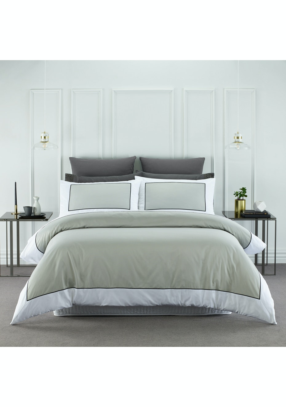 Style & Co 1000 Thread count Egyptian Cotton Hotel Collection Ascot Quilt Cover sets Super King Silver