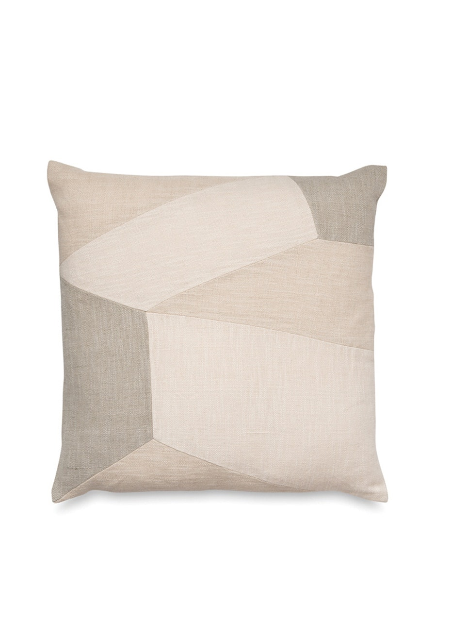 Città - Bauen Patchwork Linen Cushion Cover - Frost/Multi