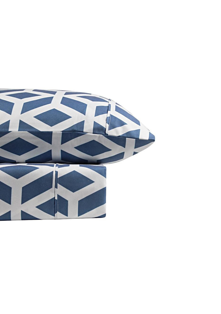 Thermal Flannel Sheet Sets - Manhattan Design - Bay Blue - Single Bed