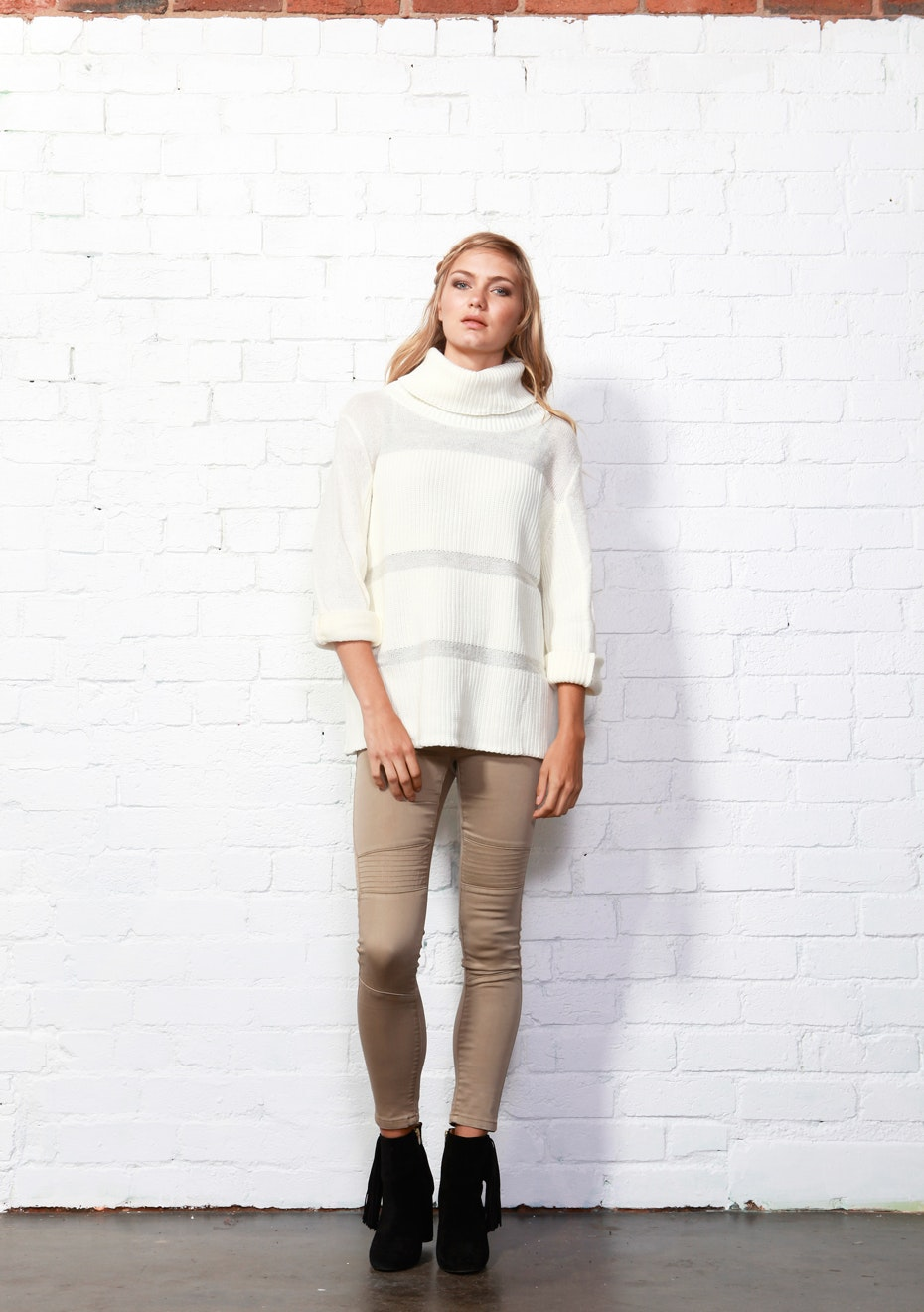 Sass - Cassie Roll Neck Jumper - White Marle
