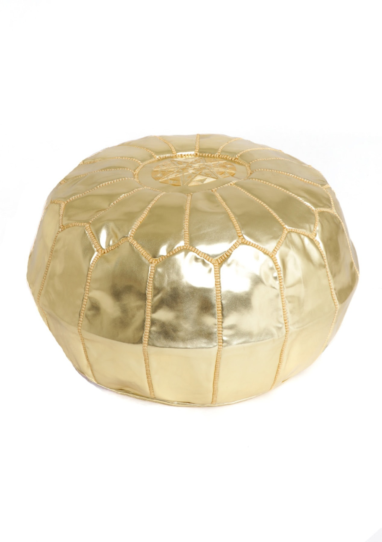 Faux Leather Metallic Moroccan Pouf - Gold