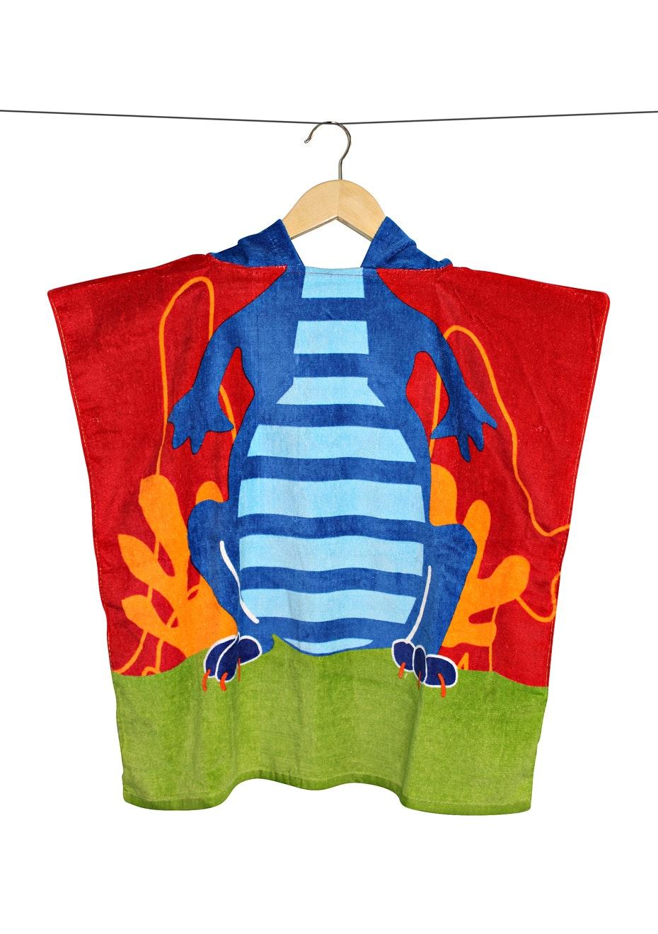 100% Cotton Kids Poncho 60x120cm Neck Size 5.5cm - Crocodile