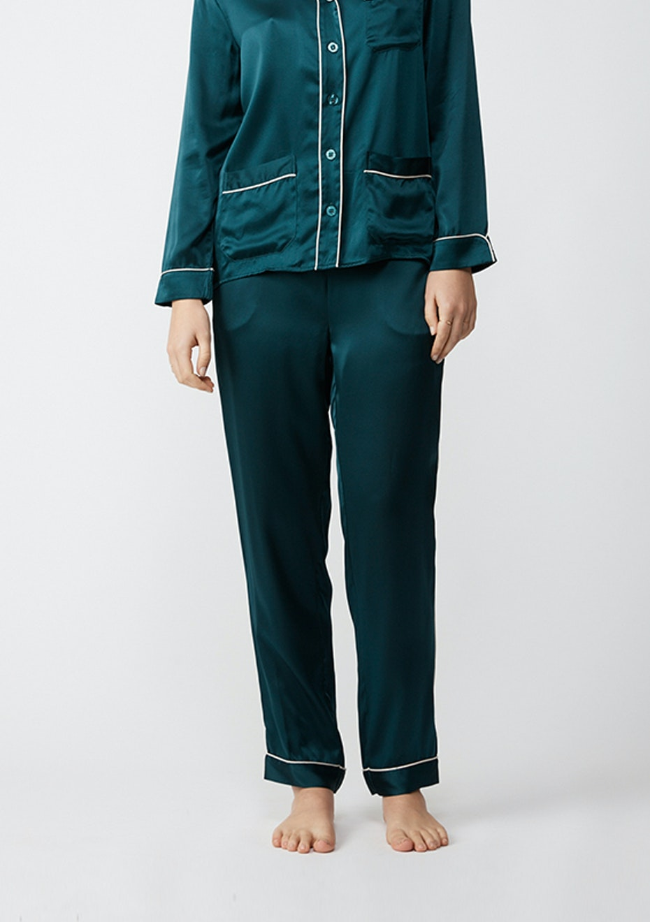 NATALIJA - Silk Pj Pants - Emerald