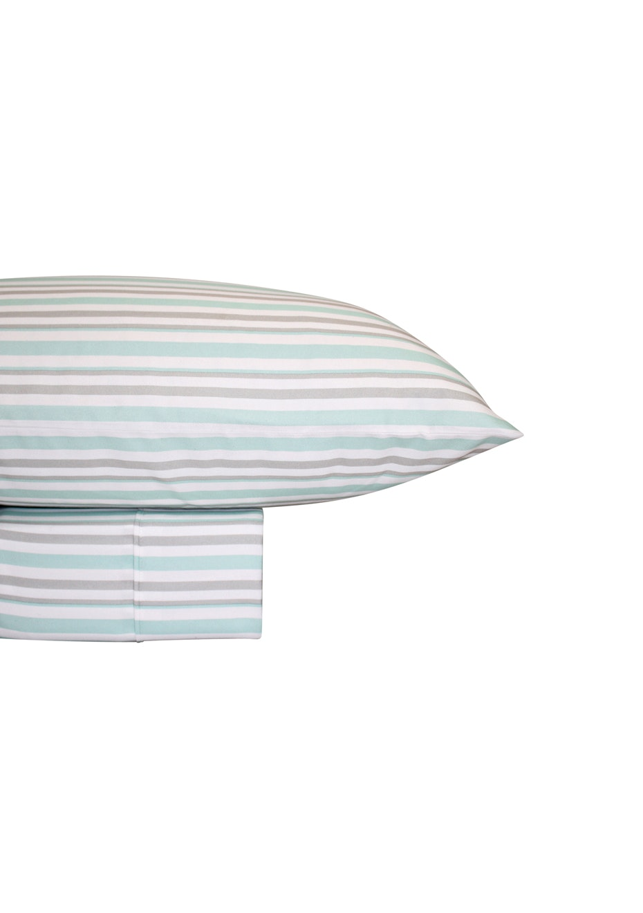 Thermal Flannel Sheet Sets - Stripe Design - Ice/Glacier - Queen Bed