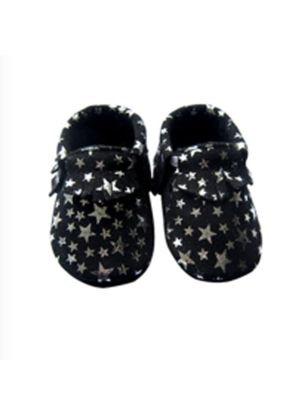 Baby  Leather Shoes - Black/Silver Star