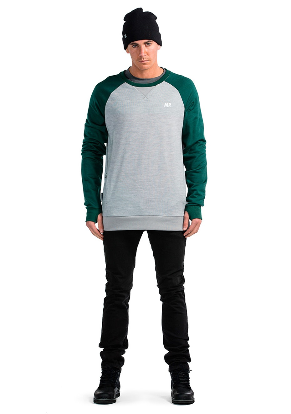 Mons Royale - Covert Tech Sweat - Green / Grey Marl
