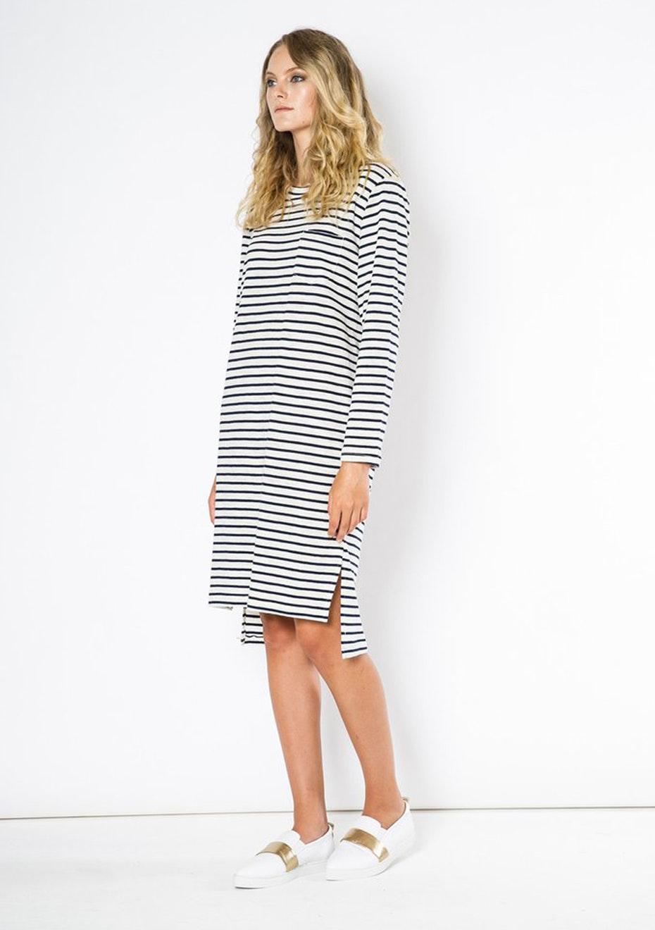 Julian Danger - Dasia Dress - Navy White Stripe