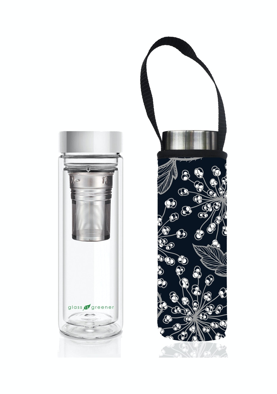 BBBYO - Glass Is Greener double-wall tea flask 500 ml + Carry Pouch (Bell Print) -500 ml