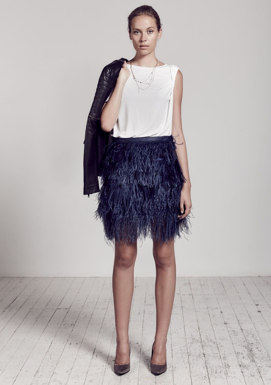 West 14th - Yvette Skirt With Ostrich Feather  - Blueberry Navy