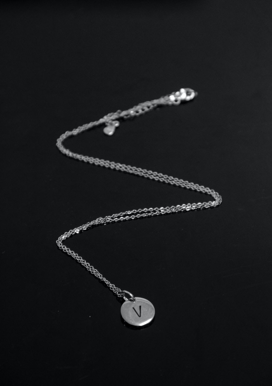 Stampled initial necklace - V
