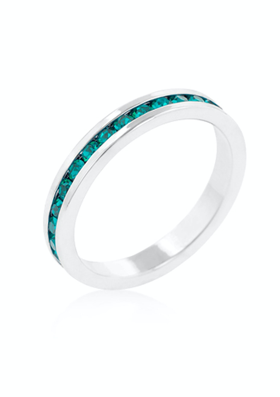 Stackable Ring - White Gold w Blue Embellished with Crystals from Swarovski