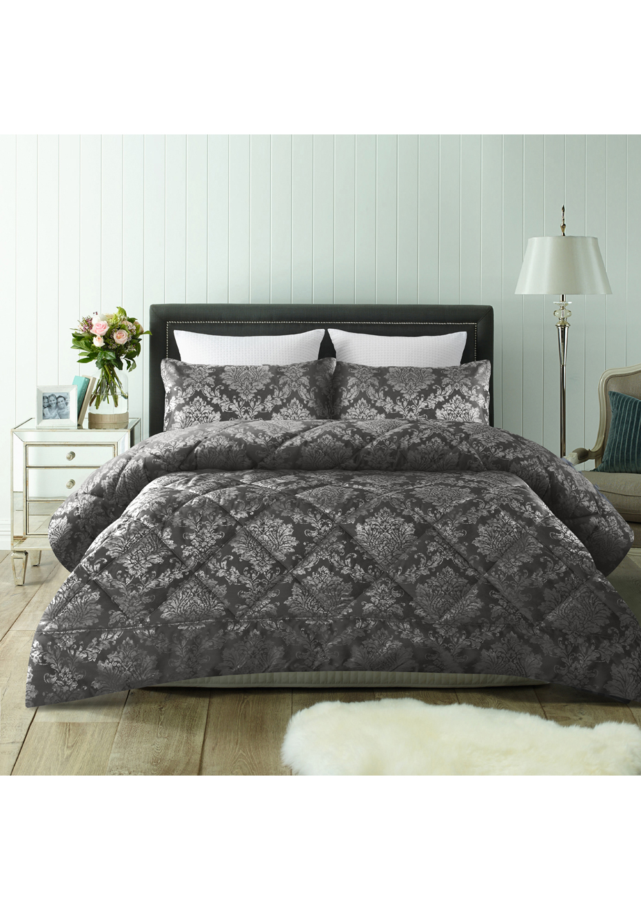 QUEEN KING 3 Piece Hendry Grey Jacquard Comforter Set by Accessorize