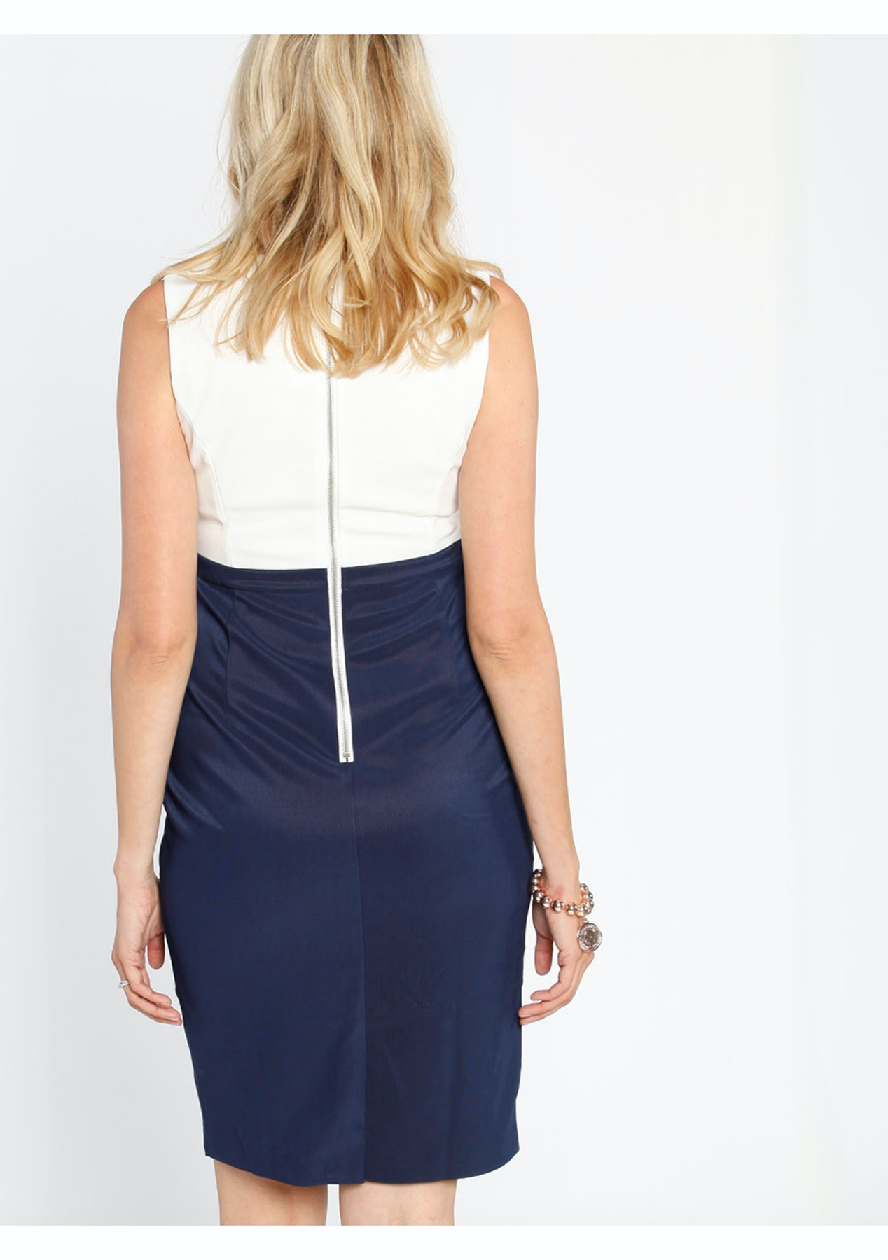 e499c75e9cd691 Angel Maternity - Sleeveless Ponti Nursing Dress - White   Navy Block -  Love Your Bump - On Trend Maternity Wear - Onceit
