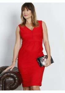 40f84ce78a Angel Maternity - Nursing Sleeveless Ponti Party Dress - Lady in Red
