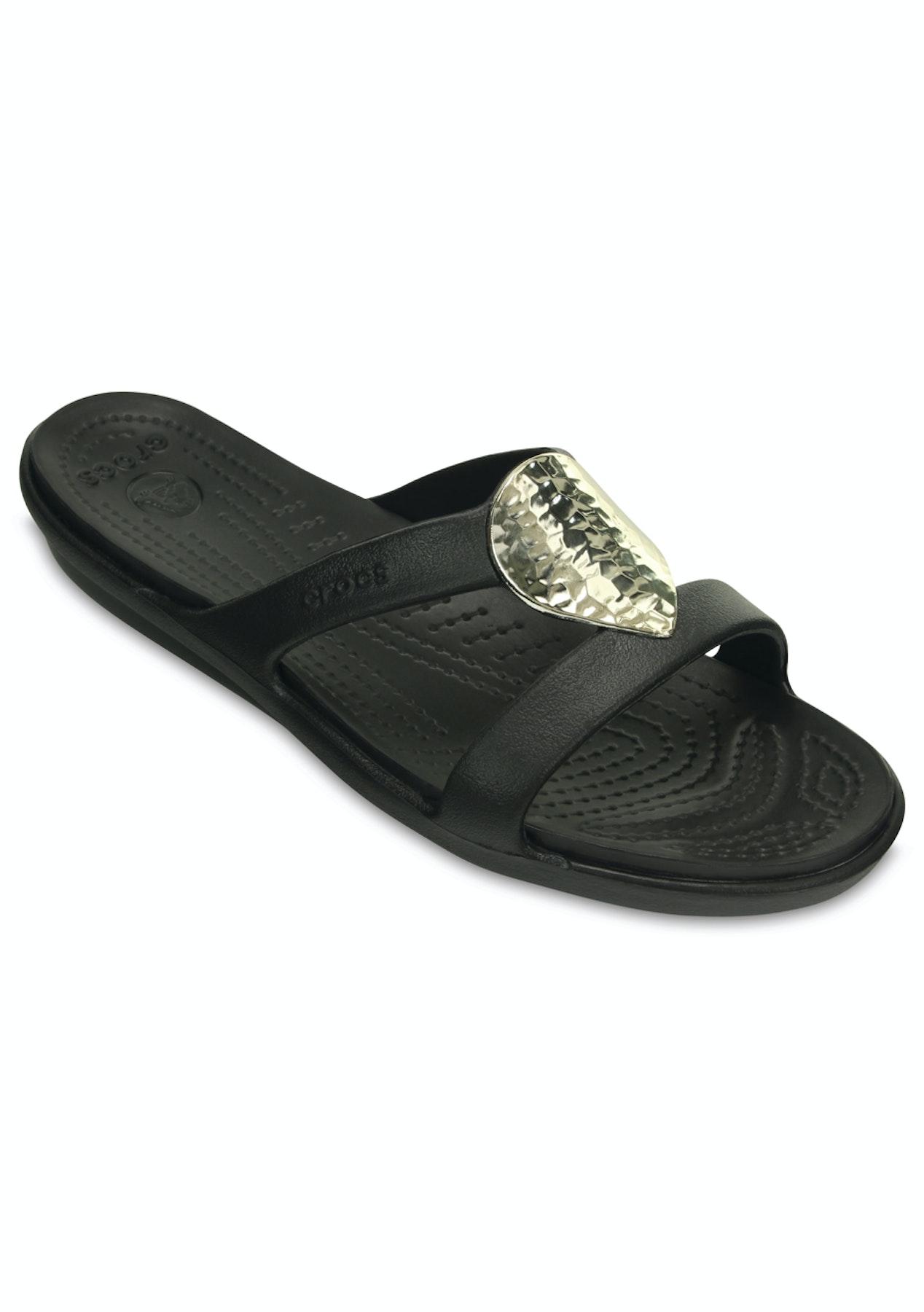 ab7e5dcf09a9 CROCS - Womens Sanrah Embellished Wedge Flip - Black Silver Metallic - Crocs  - Onceit