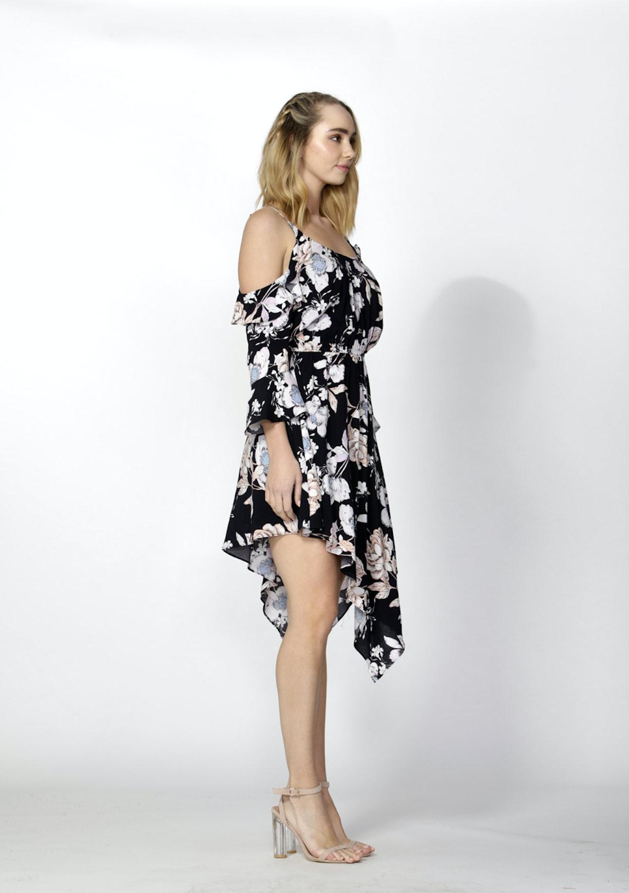 d0d4a9afaa Sass - Garden Party Flutter Dress - Garden Party Print Navy