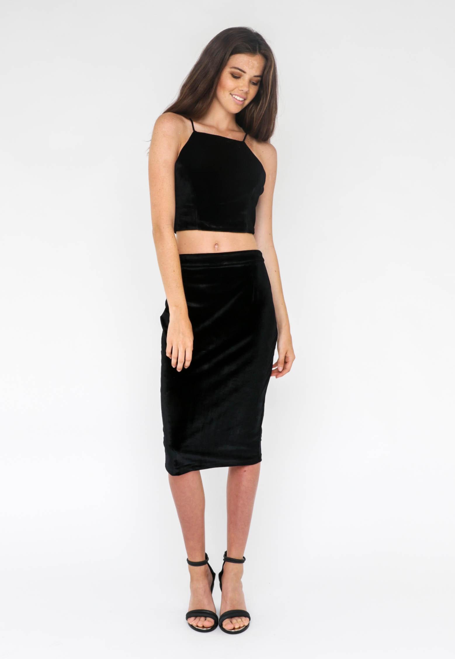 Jorge - Skirt Jade Velvet Midi - Black
