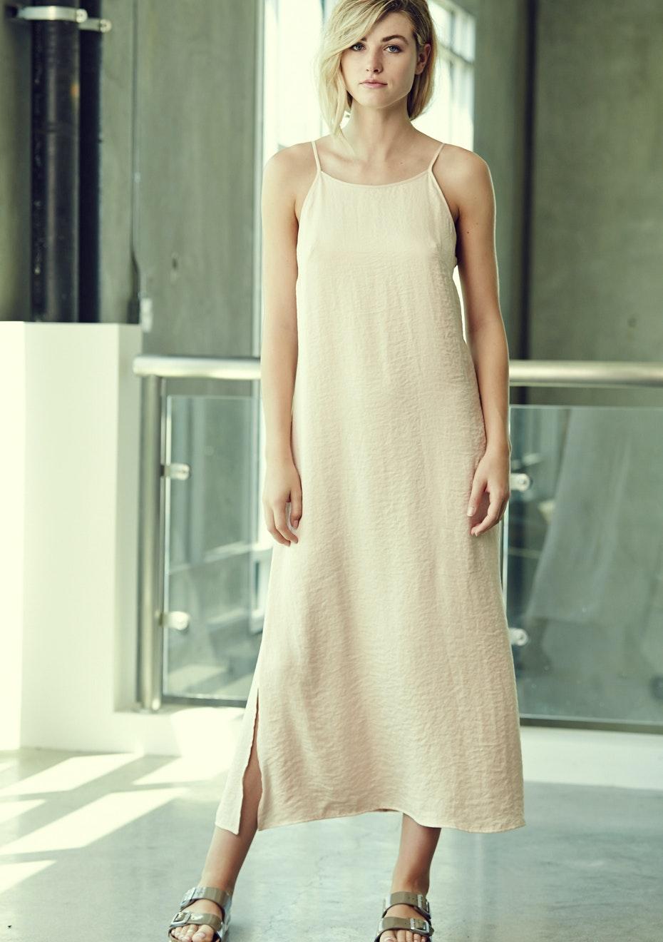 Achro - Laced Back Silky Dress - Blush