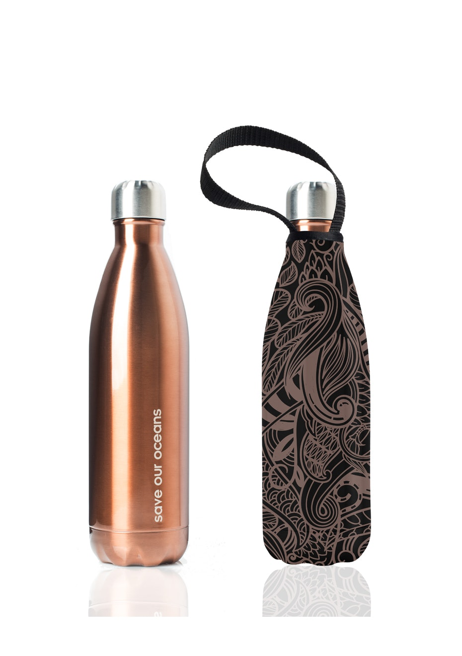 BBBYO - Future Bottle+ Carry Cover  (Copper Koru Print) - 750 ml Copper