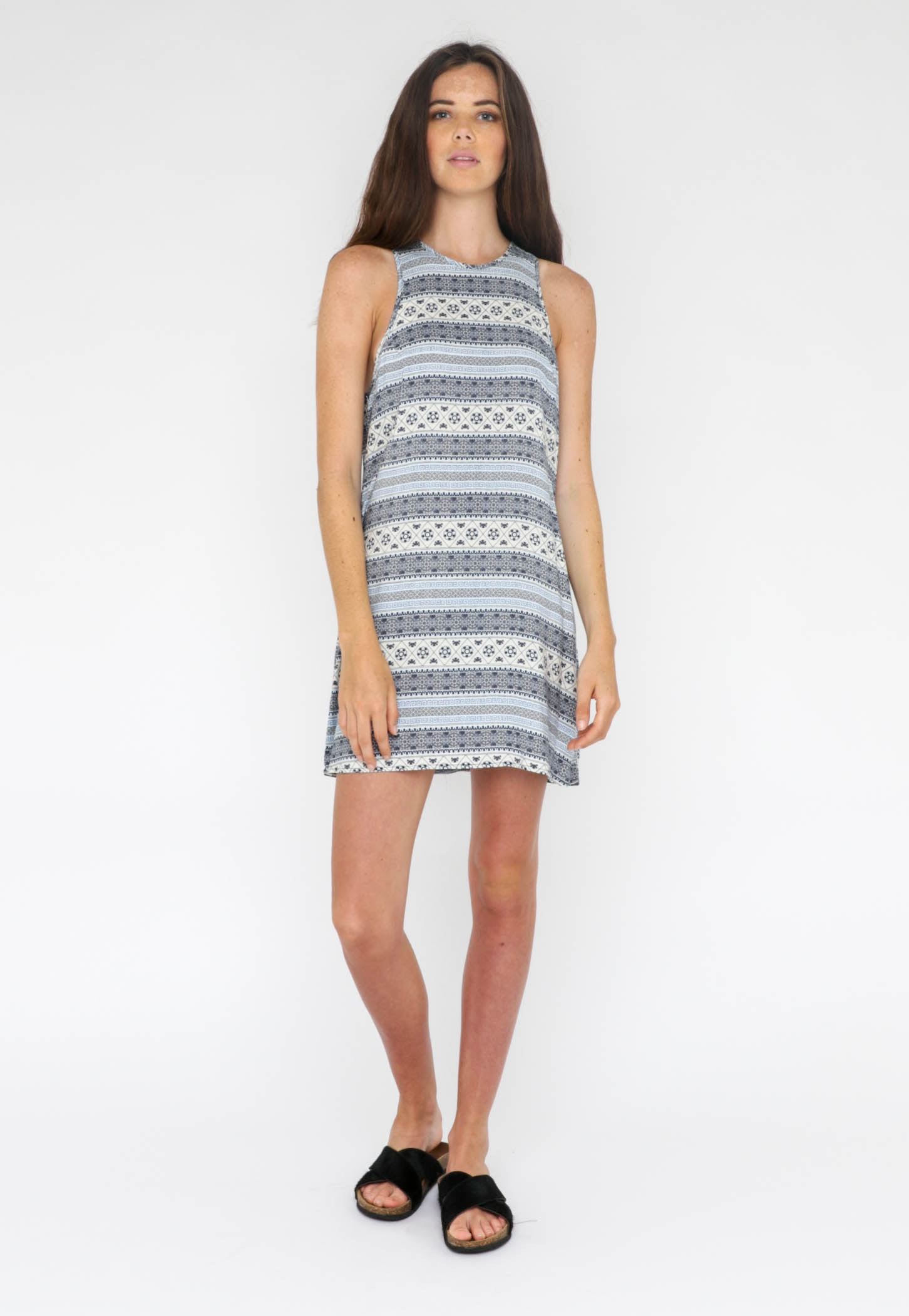 All About Eve  - Trapeze Dress - Blue Print