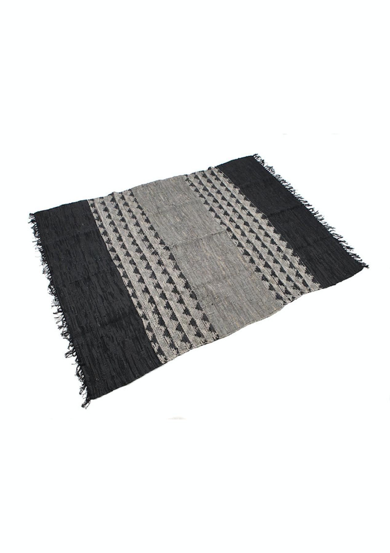 Amalfi - Lennon Leather Rug - Large - Black/Grey - Amalfi Rugs, Poufs &  Cushions - Onceit