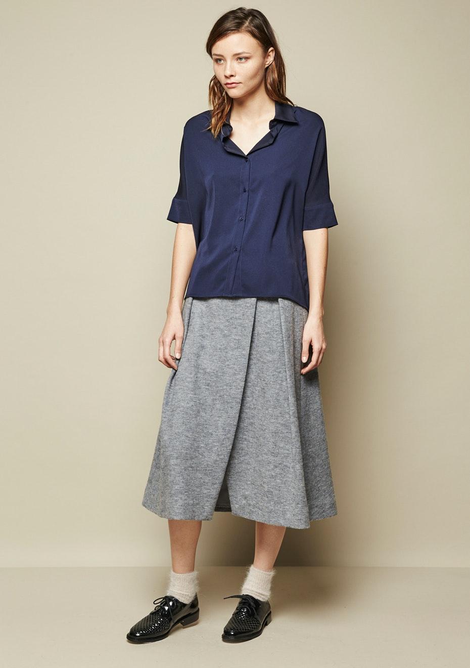 Achro - Overlapped Midi Skirt - Grey