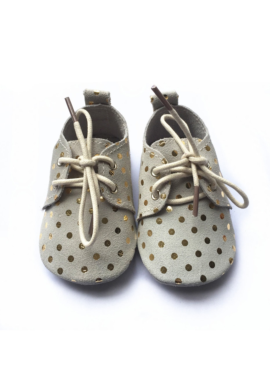 Baby  Leather Shoes - Beige / Gold Polka Dot