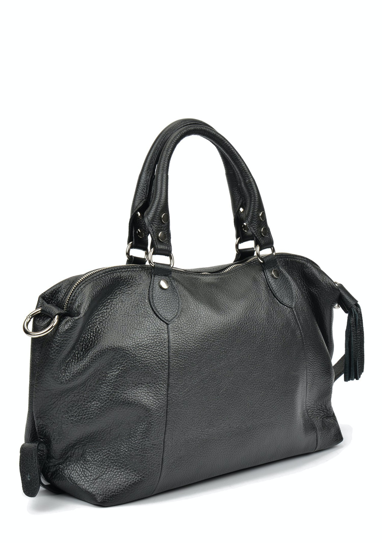 Mangotti Bags - Genuine Leather Top Handle Bag - Nero - Luxe Gifts for Her  - Onceit f300c48c2de95