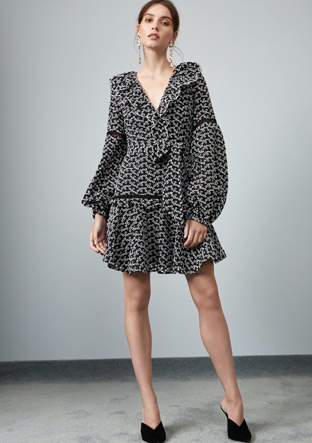 fd3f4a9942771 KEEPSAKE - Blossom Ls Mini Dress - Black W Ivory - Designer Price Drop -  Onceit