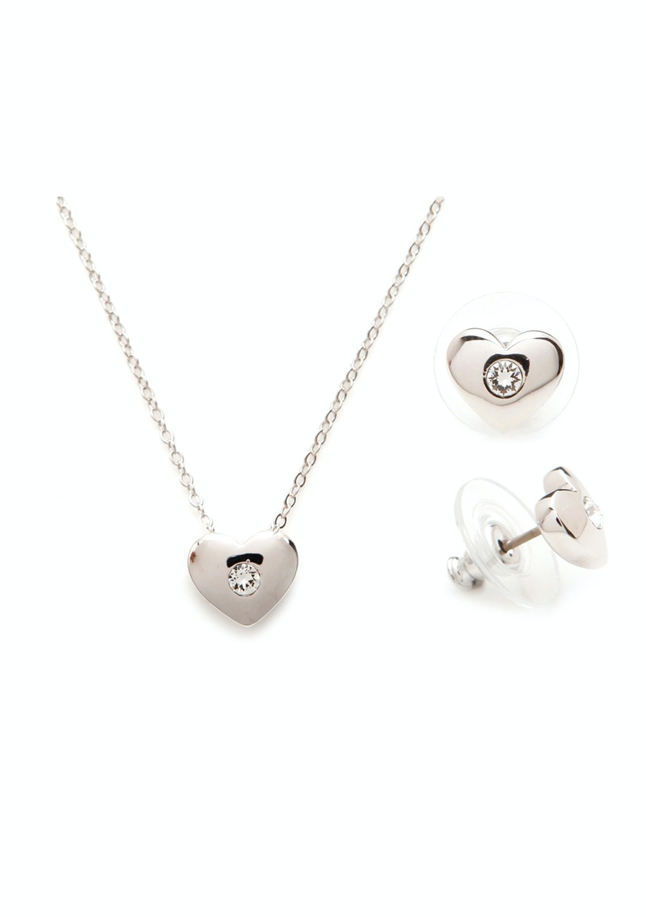 Heart 3 pc Set Inc Earrings, Pendant and chain Embellished with Crystals from Swarovski