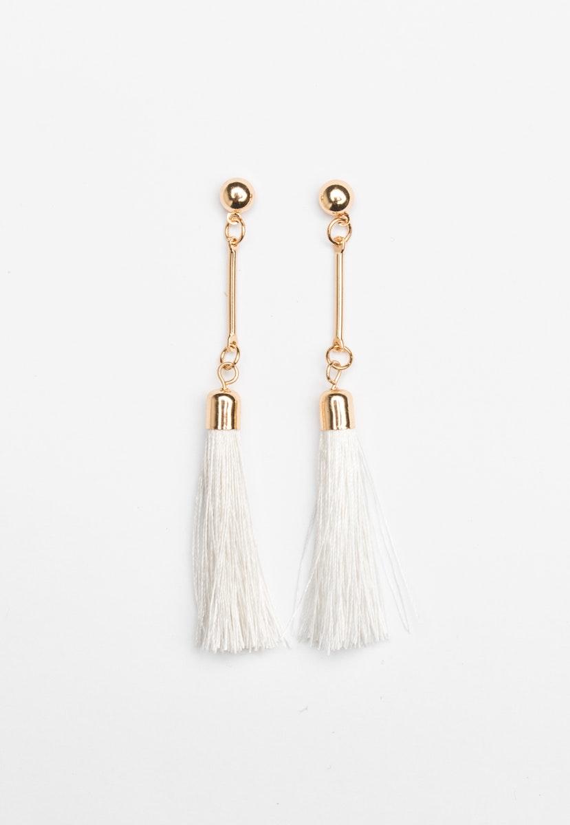 Bar drop Tassel Earrings - Gold/Cream