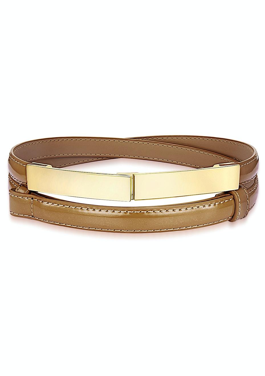 Genuine Cow Leather Skinny Waist Belt-Vogue brown