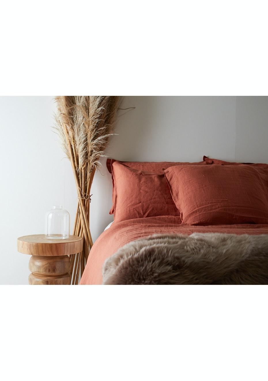 100 French Linen Duvet Cover Set Queen Desert Clay New Season 100 French Linen Bedding Onceit